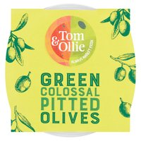 Tom & Ollie Pitted Green Olives 150g