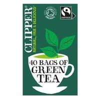 Clipper Fairtrade 40 Organic Green Tea in Unbleached, Plastic-Free Bags 80g