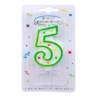 """""""Dots"""" Numeral Candle No. 5"""