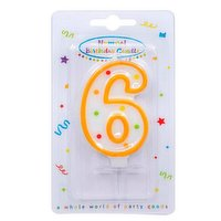 """""""Dots"""" Numeral Candle No. 6"""