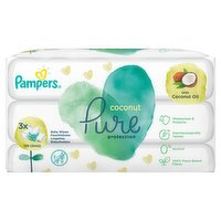 Pampers Coconut Pure Baby Wipes 3 Packs = 126 Baby Wet Wipes