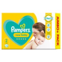 Pampers New Baby Size 2, 76 Nappies, 4kg-8kg, Jumbo+ Pack
