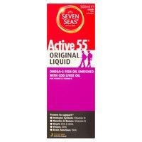 Seven Seas Active 55 Original Liquid Omega-3 Fish Oil Enriched with Cod Liver Oil 300ml