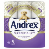 Andrex Supreme Quilts, Quilted Toilet Roll, 9 Rolls