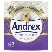 Andrex Supreme Quilts, Quilted Toilet Roll, 4 Rolls