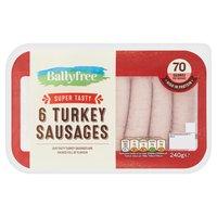 Ballyfree 6 Super Tasty Turkey Sausages 240g