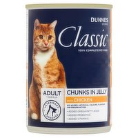 Dunnes Stores Classic Adult Cat Food Chunks in Jelly with Chicken - Adult - 400g