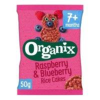 Organix Raspberry & Blueberry Organic Baby Finger Food Snack Rice Cakes 50g