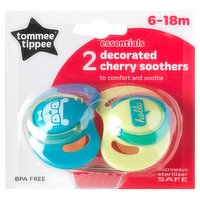 Tommee Tippee Essentials 2 Decorated Cherry Soothers 6-18m