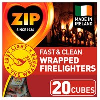Zip Individually Wrapped Firelighters 20 Cubes