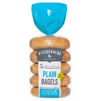 Fitzgeralds Family Bakery 5 Deli Style Plain Bagels 425g