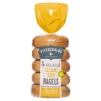 Fitzgeralds Family Bakery 5 Deli Style Sesame Seed Bagels 425g