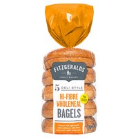 Fitzgeralds Family Bakery 5 Deli Style Hi-Fibre Wholemeal Bagels 425g