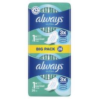 Always Ultra Sanitary Towels Normal (Size 1) Wings 26 Pads