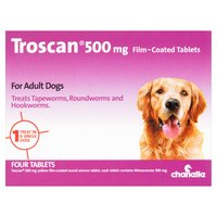 Chanelle Troscan 500mg Film-Coated Tablets for Adult Dogs Four Tablets