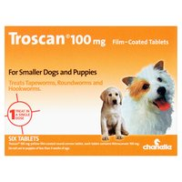 Chanelle Troscan 100mg Film-Coated Tablets for Smaller Dogs and Puppies Six Tablets
