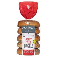 Fitzgeralds Family Bakery 5 Deli Style Poppy Seed Bagels 425g