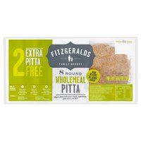 Fitzgeralds Family Bakery 8 Round Wholemeal Pitta 480g