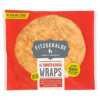 Fitzgeralds Family Bakery 6 Tomato & Basil Wraps 370g