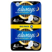 Always Ultra Sanitary Towels Secure Night (Size 4) Wings 18 Pads