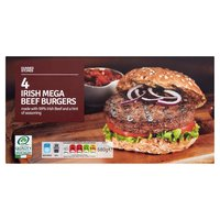 Dunnes Stores 4 Irish Mega Beef Burgers 680g