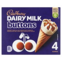 Cadbury Dairy Milk Buttons Ice Cream Cone 4 x 100ml