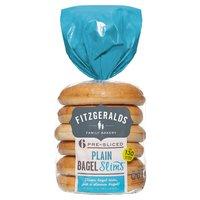 Fitzgeralds Family Bakery 6 Pre-Sliced Plain Bagel Slims 288g