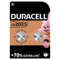 Duracell Specialty 2025 Lithium Coin Battery 3V, pack of 2 (DL2025/CR2025)