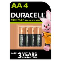 Duracell Recharge Plus Type AA Batteries 1300 mAh, Pack of 4