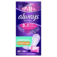 Always Dailies Singles Normal To Go Panty Liners x20