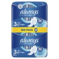 Always Ultra Sanitary Towels Day & Night (Size 3) Wings 20 Pads
