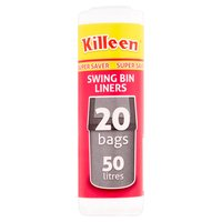 Killeen Super Saver Swing Bin Liners 20 Bags 50 Litres