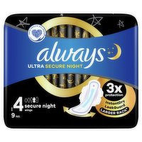 Always Ultra Sanitary Towels Secure Night (Size 4) Wings 9 Pads
