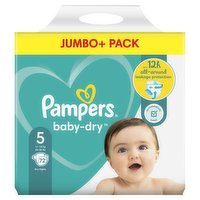 Pampers Baby-Dry Size 5, 72 Nappies, 11kg-16kg, Jumbo+ Pack