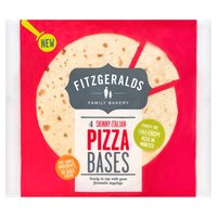 Fitzgeralds Family Bakery 4 Skinny Italian Pizza Bases 360g