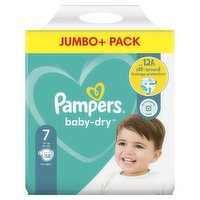 Pampers Baby-Dry Size 7, 58 Nappies, 15kg+, Jumbo+ Pack