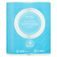 Dunnes Stores Multi Purpose Kitchen Towel 3 Ply 4 Rolls