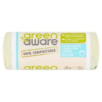 GreenAware 100% Compostable Food Waste Caddy Bin Liners 14 x 12L