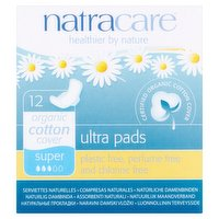 Natracare 12 Organic Cotton Ultra Super Pads with Wings