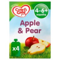Cow & Gate Apple & Pear Fruit Puree Pouch Multipack 4 x 100g