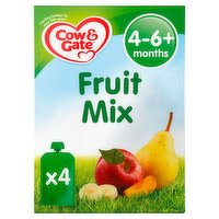 Cow & Gate Fruit Mix Fruit Puree Pouch Multipack 4 x 100g