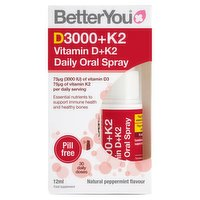 BetterYou D3000+K2 Vitamin D Daily Oral Spray 12ml