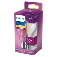 Philips LED Clear B22 Bayonet Cap 7W (60 Equivalent) Non-Dimmable Warm White Single Pack