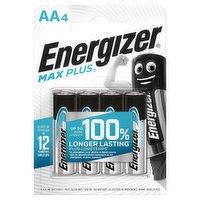 Energizer Max Plus AA Batteries, Alkaline, 4 Pack