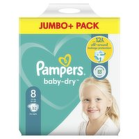 Pampers Baby-Dry Size 8, 52 Nappies, 17kg+, Jumbo+ Pack