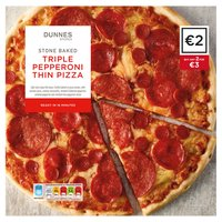 Dunnes Stores Stone Baked Triple Pepperoni Thin Pizza 315g