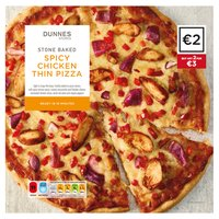 Dunnes Stores Stone Baked Spicy Chicken Thin Pizza 358g