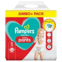 Pampers Baby-Dry Nappy Pants Size 5, 60 Nappies, 12kg-17kg, Jumbo+ Pack