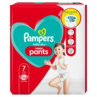 Pampers Baby-Dry Nappy Pants Size 7, 25 Nappies, 17kg+, Essential Pack