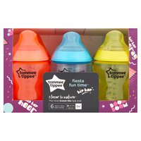 Tommee Tippee Closer to Nature Fiesta Fun Time 6 Feeding Bottles Slow Flow 0m+ 260ml